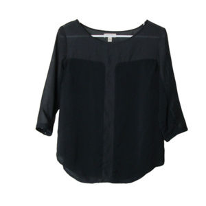 UO silence + noise black dual panel blouse